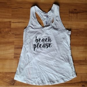 "3/25 Fabletics white ""Beach Please"" tank top"